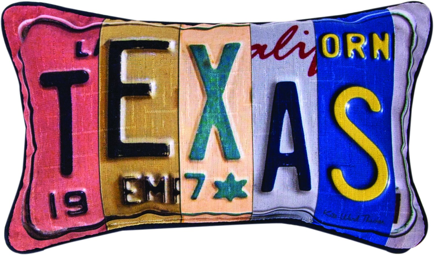 Manual Woodworkers & Weavers Vanity Plates Throw Pillow, Texas, 14.5 x 9