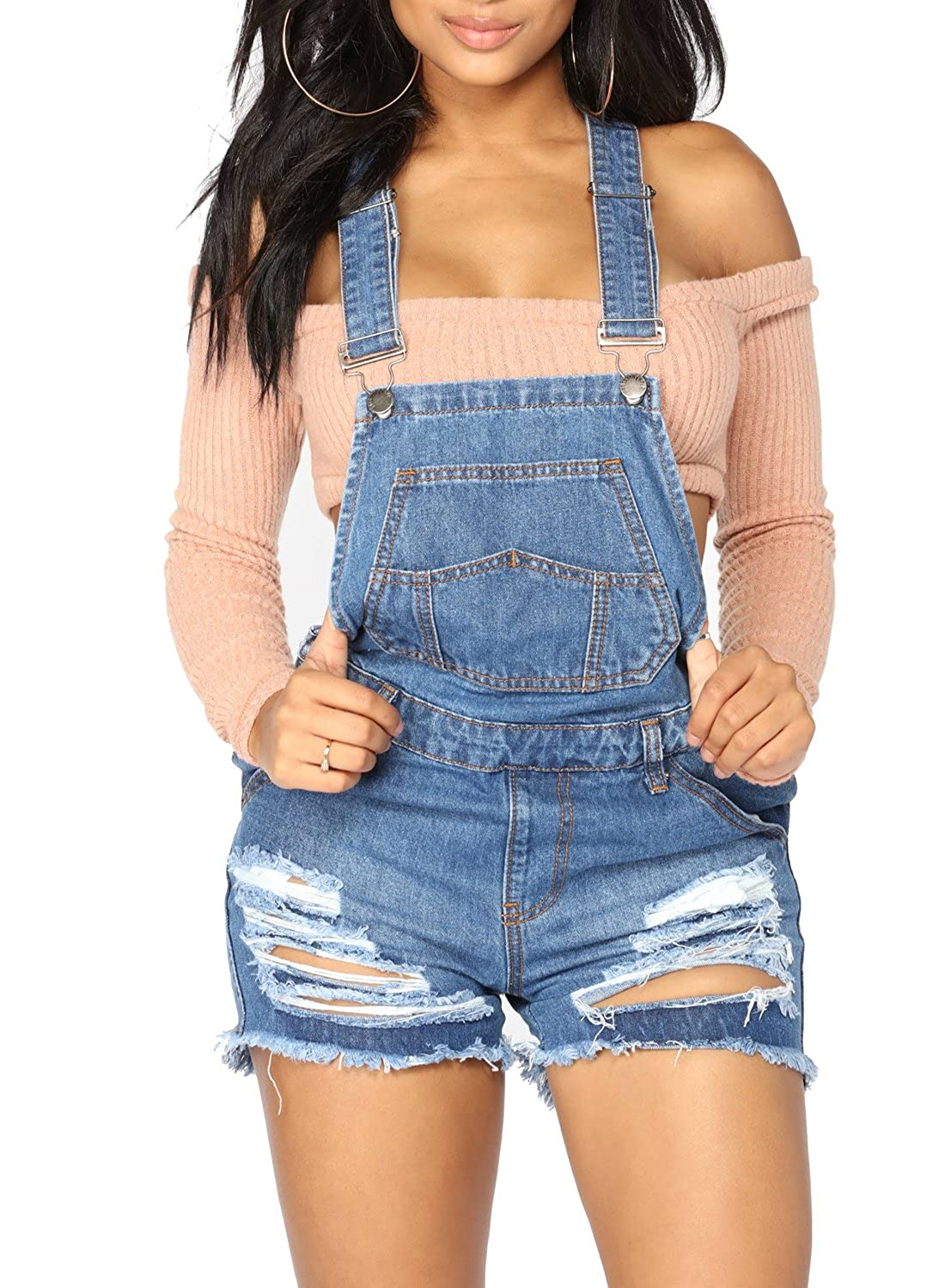 Sidefeel Women Shortalls Jumpsuit Denim Bid Pockets Ripped Short Overall HX786012