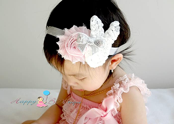 Amazon.com  Silver Grey Pink Shabby Baby Girl Bunny Headband a2bd396df98