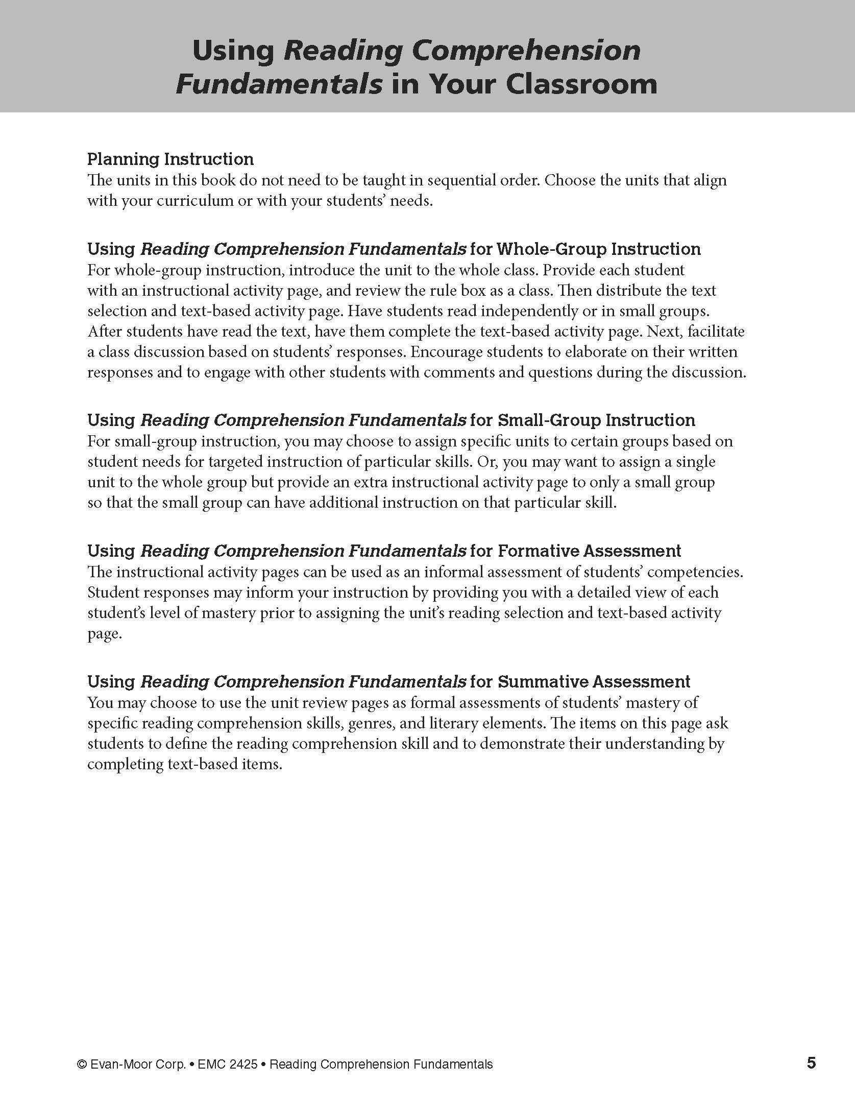 - Amazon.com: Reading Comprehension Fundamentals, Grade 5
