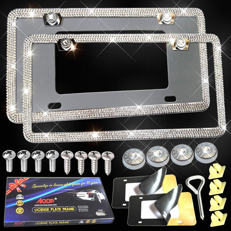 Metal License Plate Frame Bling RhineStone Chrome Crystal Diamond Glitter 2pc