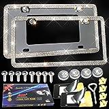 Aootf Bling License Plate Frames - Glass Crystal Diamond Metal License Plate Frame Slim Stainless Steel License Plate…