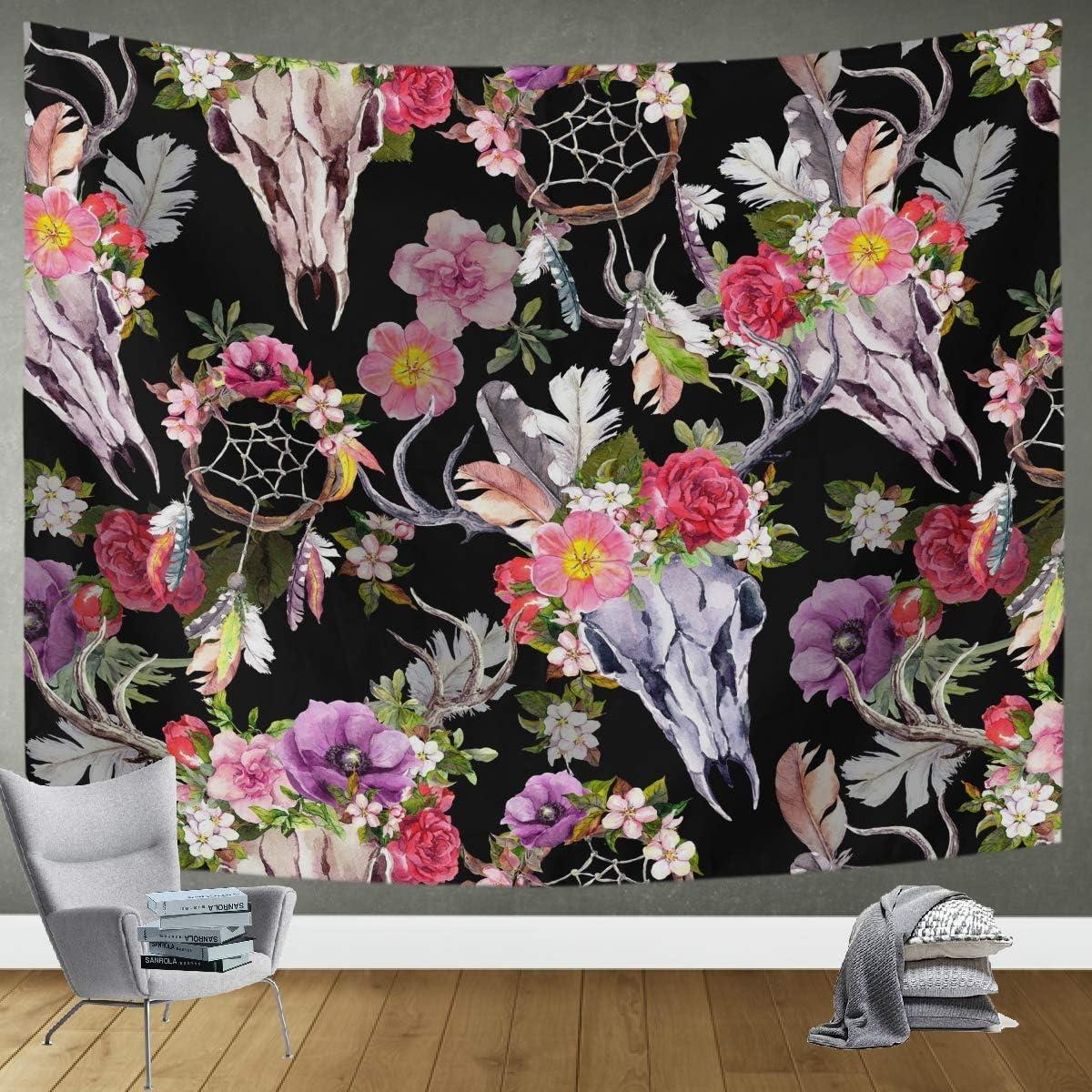 DOMIKING Wall Hanging Tapestry Bedroom Decor - Deer Skulls Flowers Dreamcatcher Large Tapestries for Bedroom Living Room 60x51in Wall Blanket