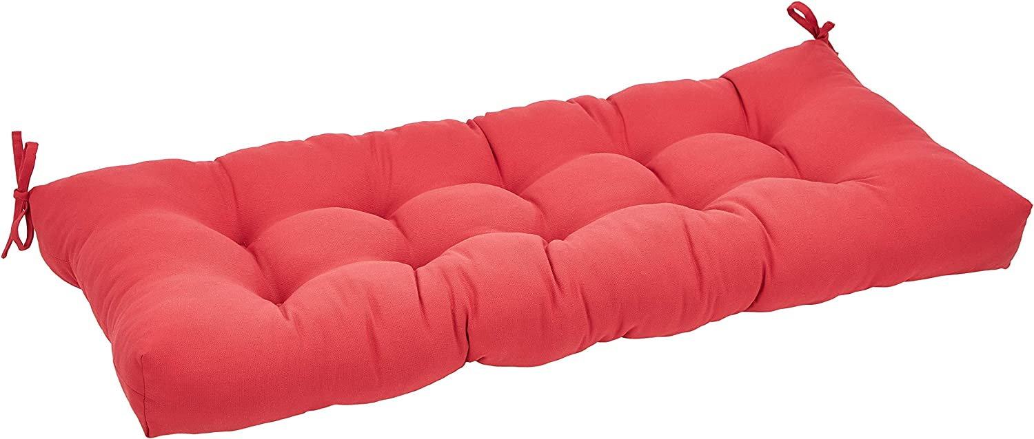 AmazonBasics Tufted Outdoor Patio Bench Cushion- 44 x 18 x 4 Inches, Red