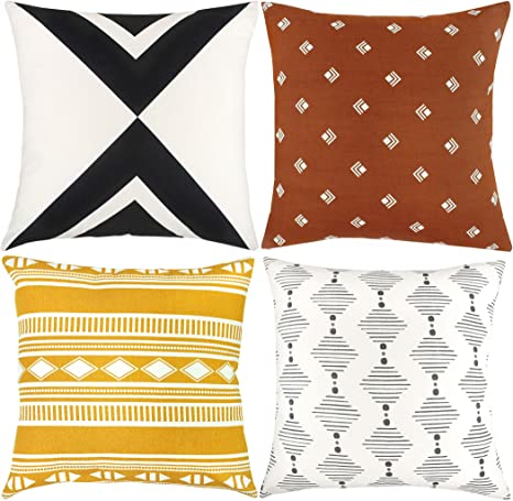 Amazon Com Woven Nook Decorative Throw Pillow Covers 100 Cotton Canvas Indy Set Pack Of 4 18x18 Inches Home Kitchen