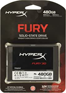 "Kingston HyperX FURY 3D Solid State Drive 480GB SATA 2.5"" KC-S44480-6F – sustituto de disco duro para mayor rendimiento"