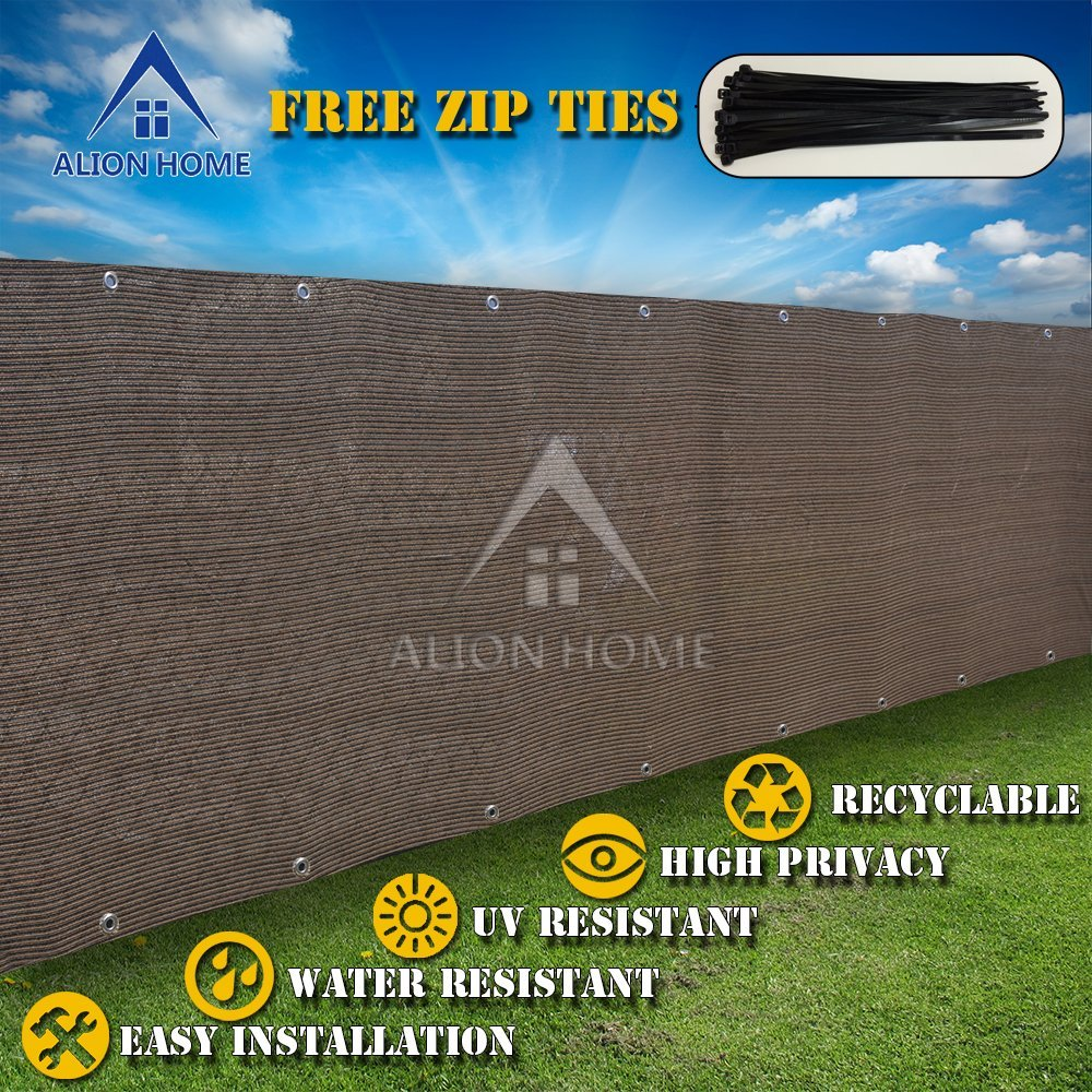 Alion Home HDPE Privacy Screen Mesh For Pool, Patio, Deck, Balcony, Railing, Fence. No Black Trim. (4'X16', Mocha Brown)