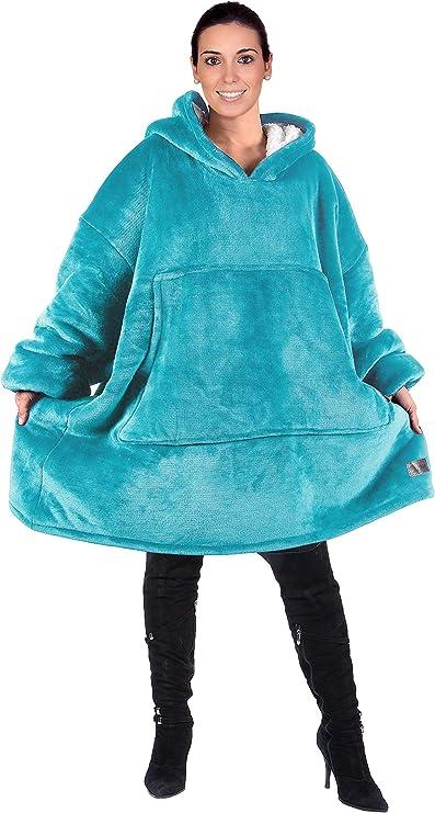 One Size Fits All Oversized Hoodie Blanket Warm Wearable Blanket Sweatshirt Cosy Hoody Front Giant Pocket Ultra Soft Sherpa Fleece for Women Girls Adults Men Boys Kids