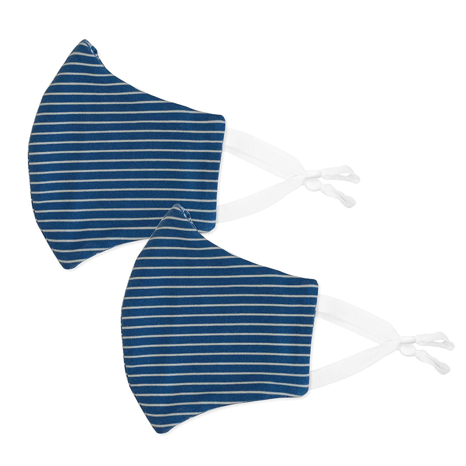 Navy Stripes Adult Blue BooginHead Face Coverings with Adjustable Ear Loop and Filter Pocket Pack of 2