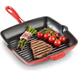 VonShef Cast Iron Griddle Pan with Non-Stick Enamel Coating, Suitable for All Stove Types Including Induction, Red Ombre Grill Pan, 10 Inch Diameter