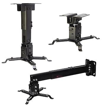 Luxburg® Suporte Universal de Aluminio para Proyector (montaje de techo o mural) carga maxima 15kg 30 grados, 43-65cm, - - noir