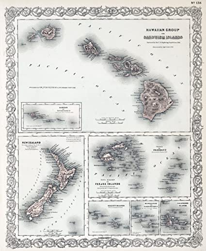 Amazon Com Historic Map Hawaii New Zealand Fiji Tonga