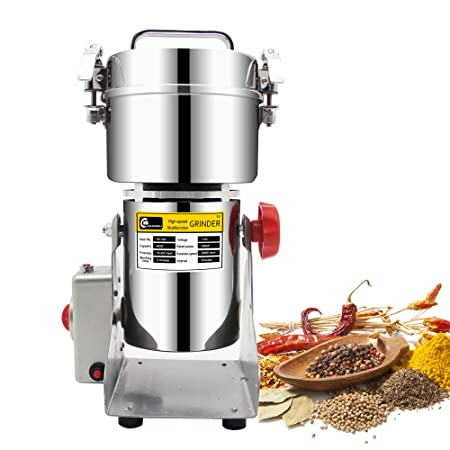 CGOLDENWALL 300g stainless steel electric high-speed grain grinder mill family medicial powder machine commercial Cereals grain Mill Herb Grinder,pulverizer 110v gift for mom, wife