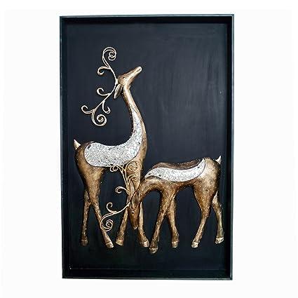 Buy Uniqkrafts Deer Couple 3d Wall Hanging Frame Wall Decor Home