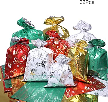 Christmas Gift Bags 32pcs Santa Wrapping Gift Bag In 4 Sizes And 4 Designs With Ribbon Ties And Tags For Wrapping Holiday Gifts
