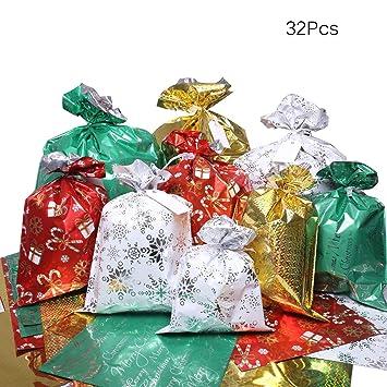 Amazon.com: Bolsas de regalo de Navidad, 32 unidades de ...