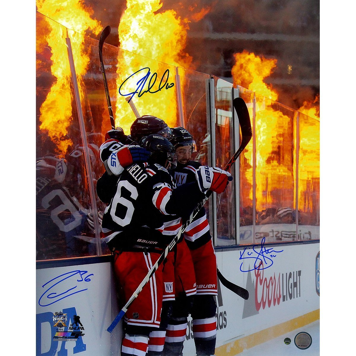 Mats Zuccarello JT Miller Kevin Shattenkirk Triple Signed  2018 Winter  Classic Celebration Flames Background  16x20 Photo at Amazon s Sports  Collectibles ... 23341bc92