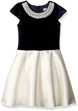 68252f04bdba Amazon.com  BTween Big Girls Holiday Dress with Velvet Top and Pearl ...