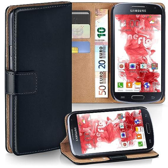 moex Samsung Galaxy S4 Mini   Hülle Schwarz mit Karten-Fach 360° Book Klapp-Hülle Handytasche Kunst-Leder Handyhülle für Sams