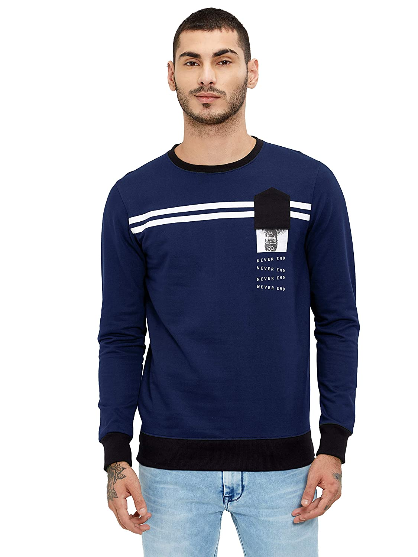 Maniac Printed Men's Fullsleeve Olive Cotton Sweatshirt Men's Sweatshirts   Hoodies