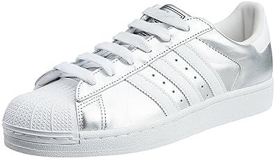 adidas originals frauen superstar 2) w silber und weiße turnschuhe