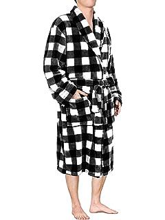 U2SKIIN Mens Fleece Robe Plush Collar Shawl Bathrobe at Amazon Men s ... 21f187589