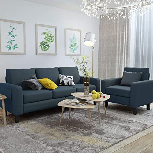 Mecor 2 Piece Living Room Sofa Set Modern Fabric Couch Furniture Upholstered 3 Seat Sofa Couch and Single Sofa Chair