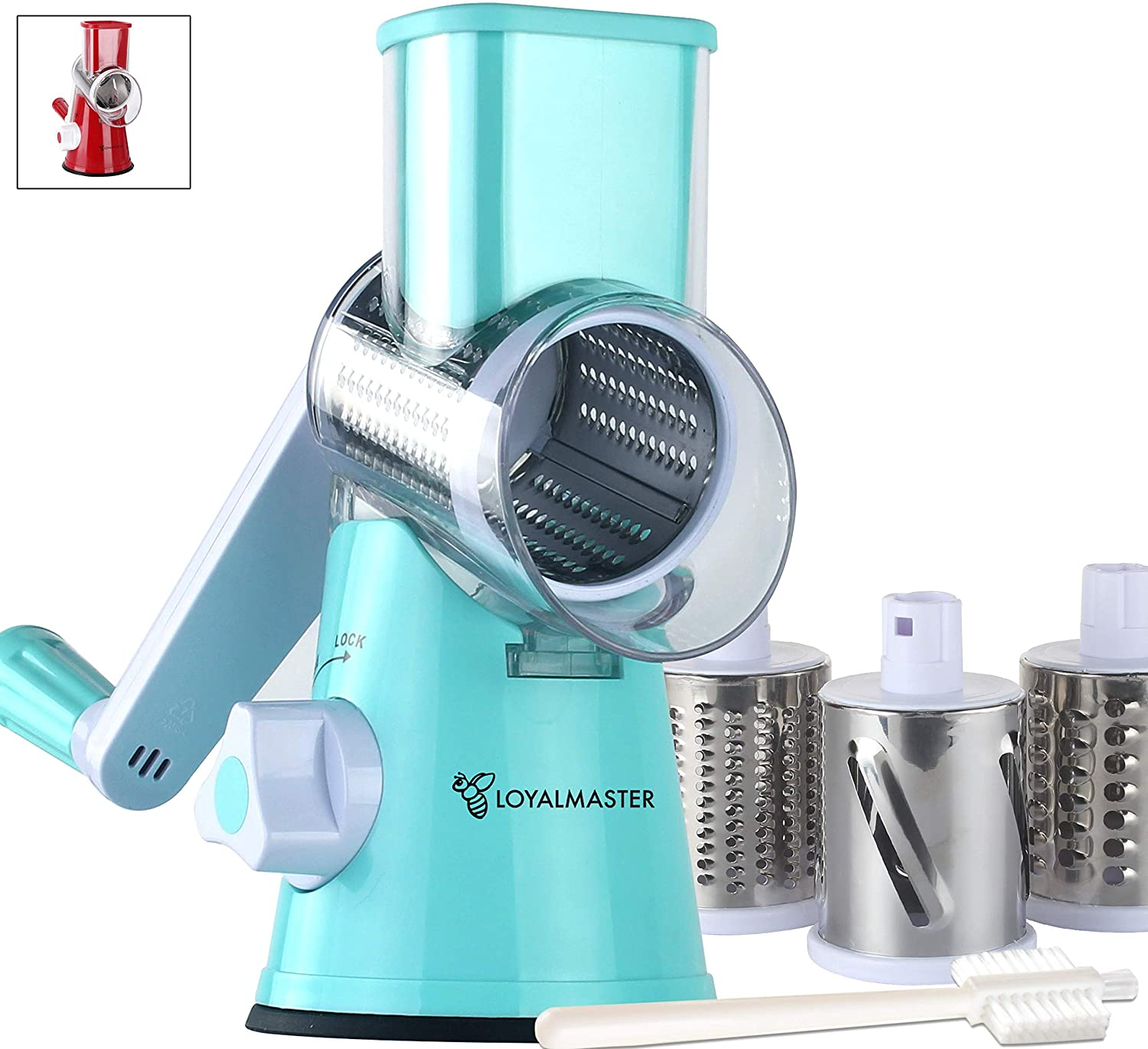 LOYALMASTER Rotary Cheese Grater - Round Drum Slicer Shredder Grinder - Hand Crank Mandoline for Vegetable, Food, Pecans, Carrots, Salad, Nut Chopper - 3 Stainless Steel Drums - Strong Suction Base