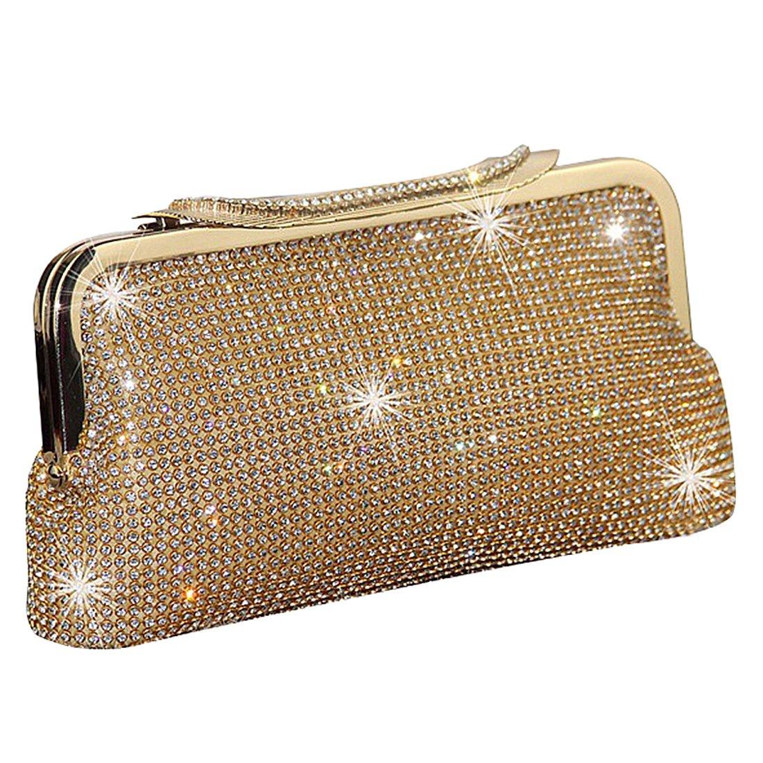 1eef5e9ff2 SSMK Fashion Womens Glitter Clutch Bag Bling Evening Bridal Prom Party  Handbag Purse (Gold)  Amazon.co.uk  Shoes   Bags