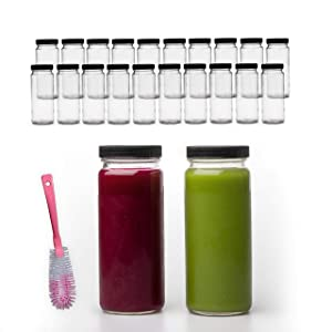 16 OZ Glass Bottles with Caps, 20 Juice Bottles Smoothie Cup Containers Black Lids