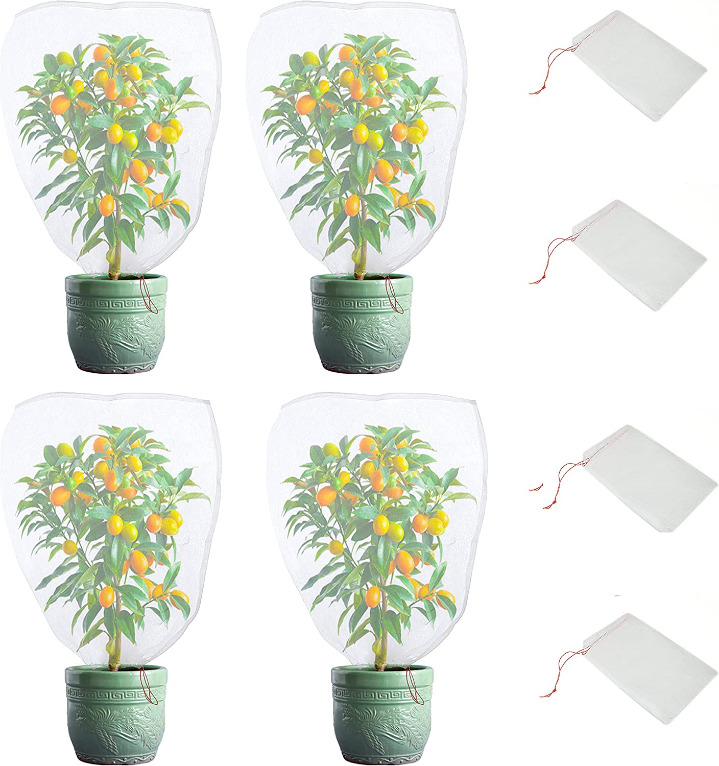 4 Pieces Plant Net Bags with Adjustable Drawstring Birds Netting Fruit Bags for Protectin Plants and Fruit Trees Flowers Garden Netting for pest Barrier Bag Deer