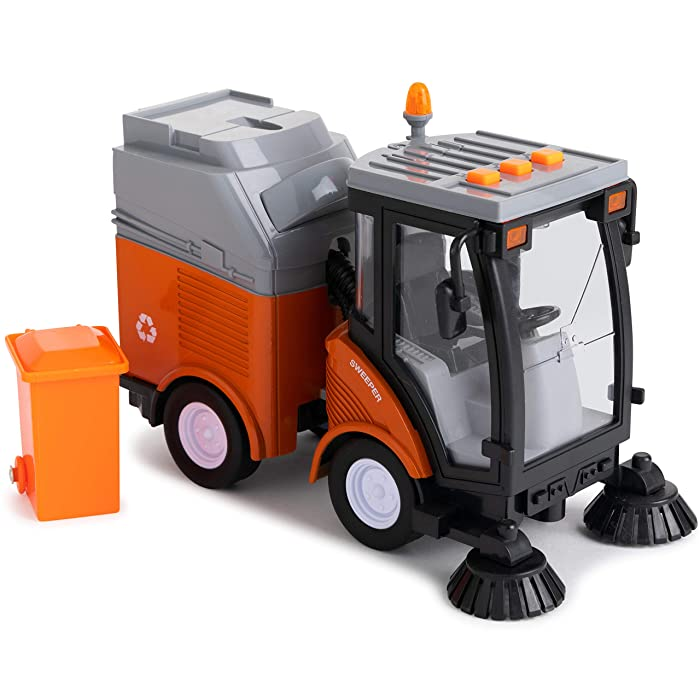 Toy To Enjoy Street Sweeper Truck with Light & Sound Effects - Friction Powered Wheels, Removable Garbage Can & Rotating Brushes - Heavy Duty Plastic Cleaning Vehicle Toy for Kids & Children