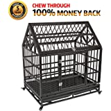 Gelinzon Heavy Duty Dog Cage Strong Metal Kennel Crate Large Dogs, Easy to Assemble Pet Playpen Tray Wheels