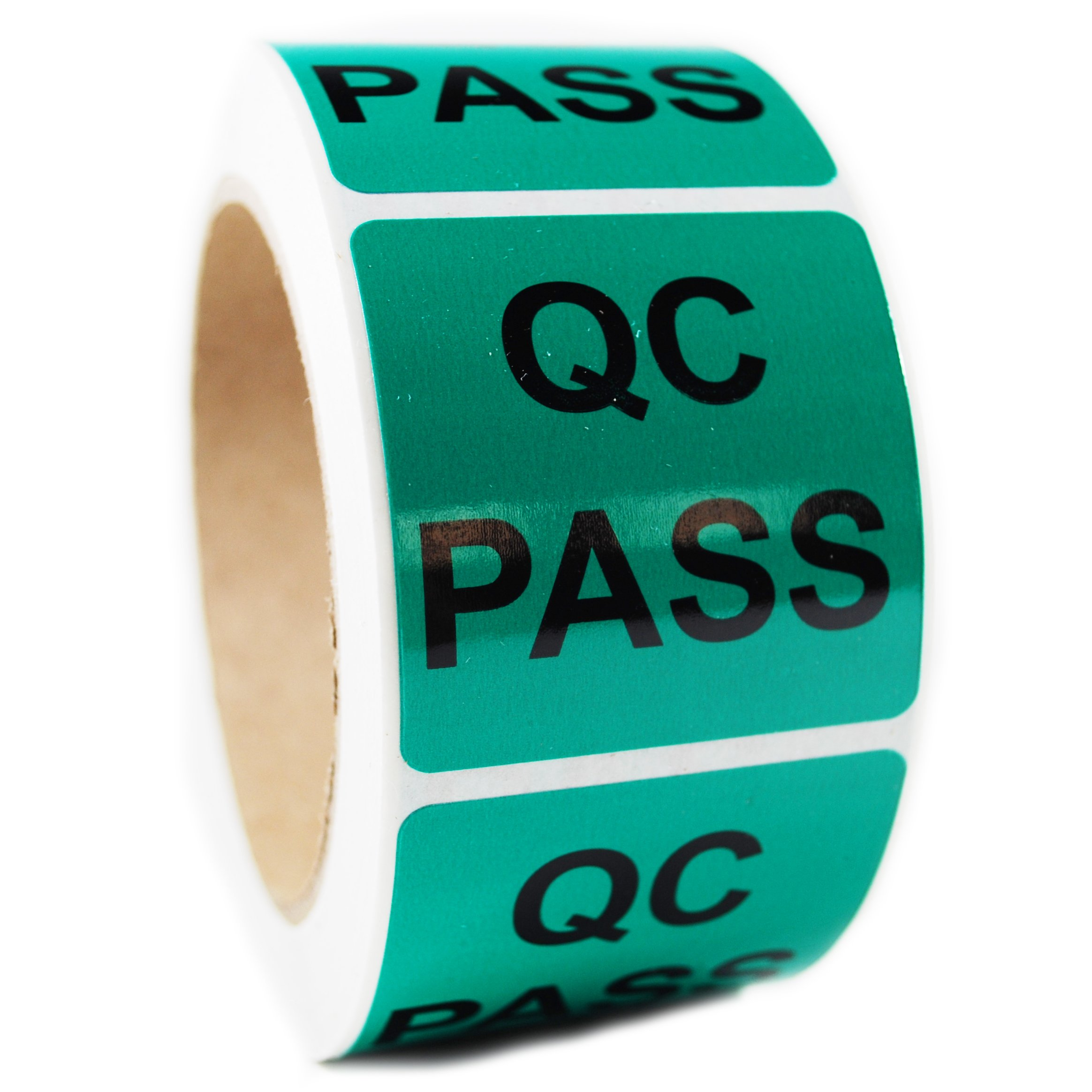 Glossy Green ''QC Pass'' Sticker Label - 2'' by 2'' - 500 ct