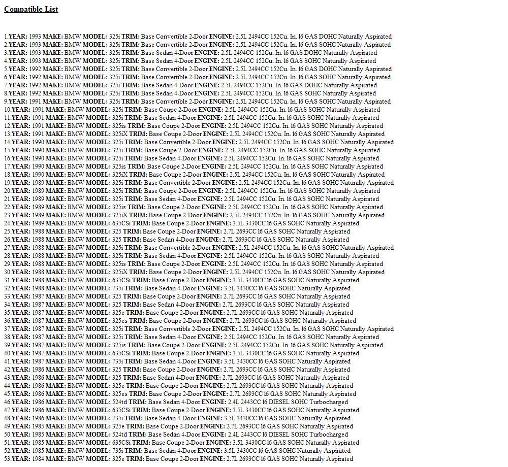 EPC Auto Trans Filter Fits BMW 325e 325i 325ix 325is 524TD 635CSi 735i Volvo 760