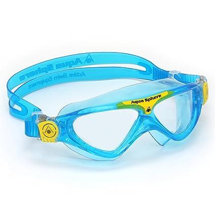 211f46b6eb Aqua Sphere Vista Careta para Natación para Niño con Lentes Transparentes,  Azul mar/Amarillo