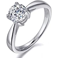 CARSINEL Carat Round Brilliant Classical 925 Sterling Silver Rings Solitaire Engagement Ring