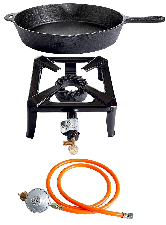 Hockerkocher mit 8.5 kW Leistung, Abmessung 30x30x15 cm und Gusseisenpfanne Ø 41 cm inkl. Gasschlauch & Regler
