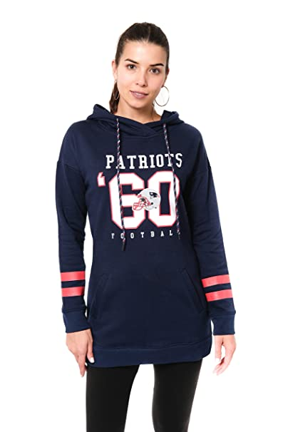 new concept 30902 8fcae Ultra Game NFL New England Patriots Women's Tunic Hoodie Pullover  Sweatshirt Terry, Team Color, Navy, Large