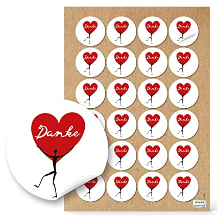 24 Danke adhesivas Corazón a Corazón humanos en blanco y negro rojo clásico. Texto Dankeschön