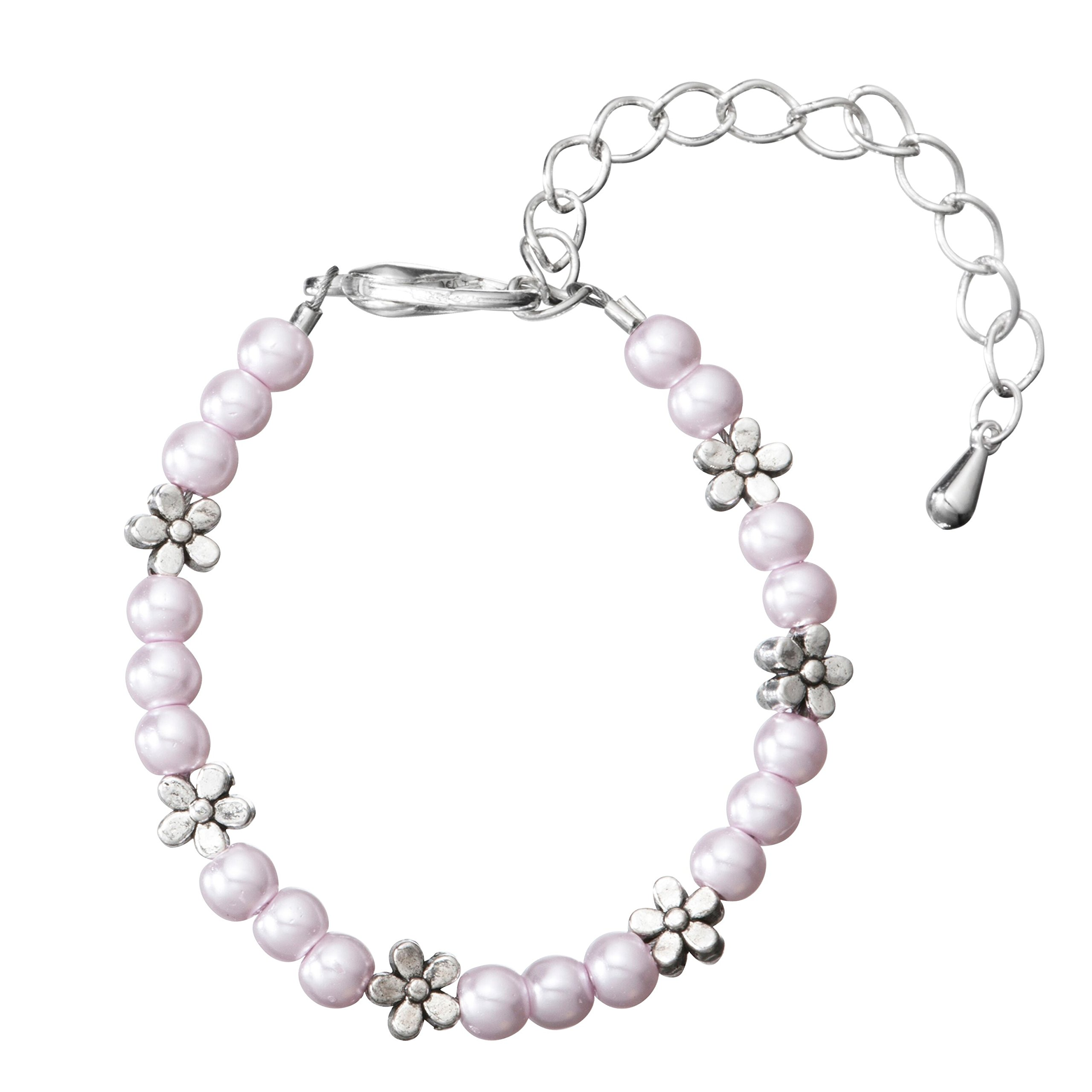 Crystal Dream Light Pink Czech Glass Pearls with Pewter Flowers Child Bracelet with 2'' Extender (BPG11_M)
