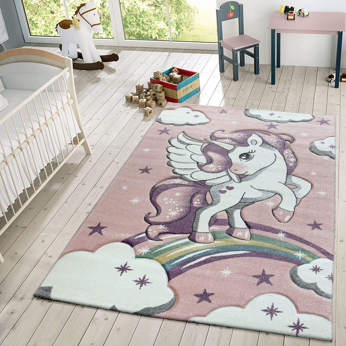 TT Home Kinder Teppich Moderner Spielteppich Einhorn Sternen Design Mit Wolken Rosa, Größe 160x230 cm