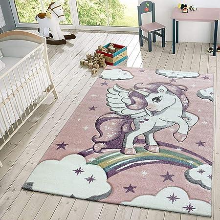 Kids Carpet Children/'s Bedroom Rug Flying Unicorn Rainbow Stars Girls Baby Mats