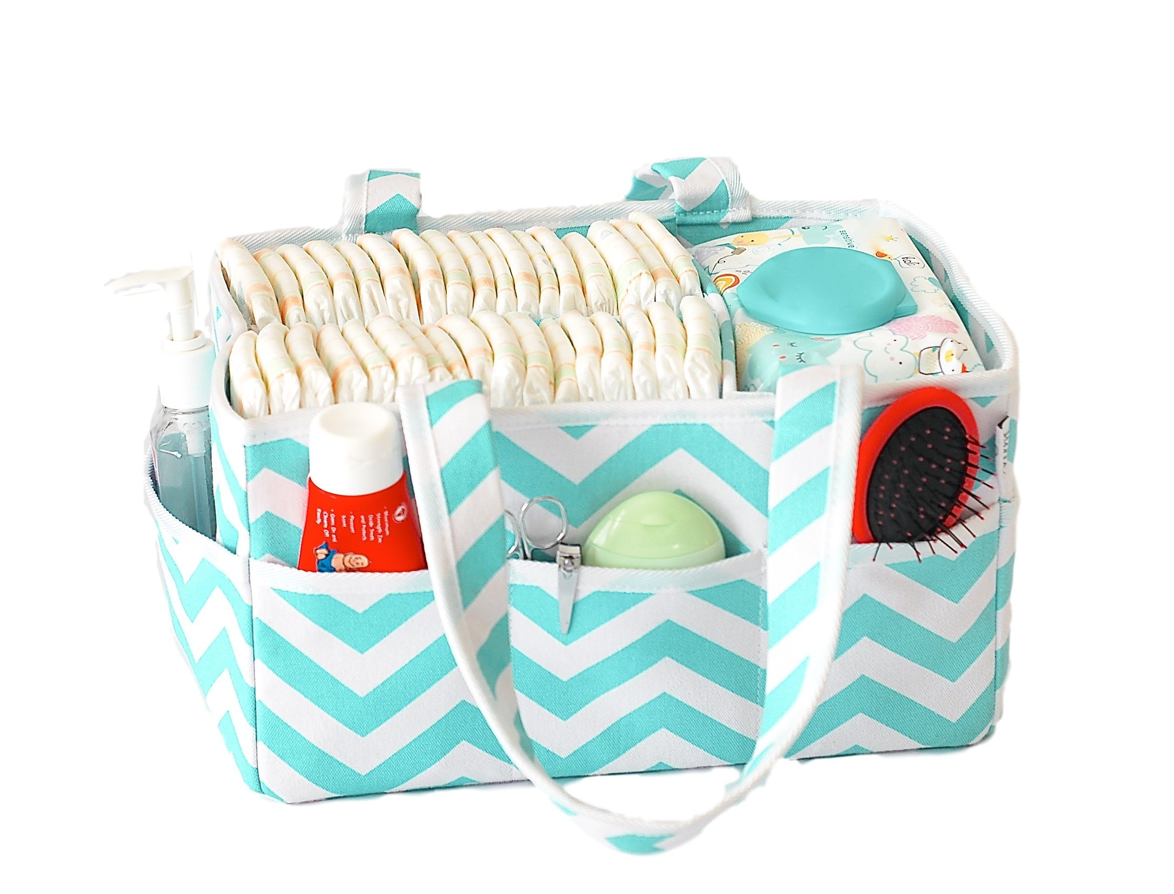 June Bug Baby Diaper Caddy - Storage Bin for Diapers and Baby Wipes - Home, Car, and Nursery Organizer - Unisex Turquoise Chevron Design