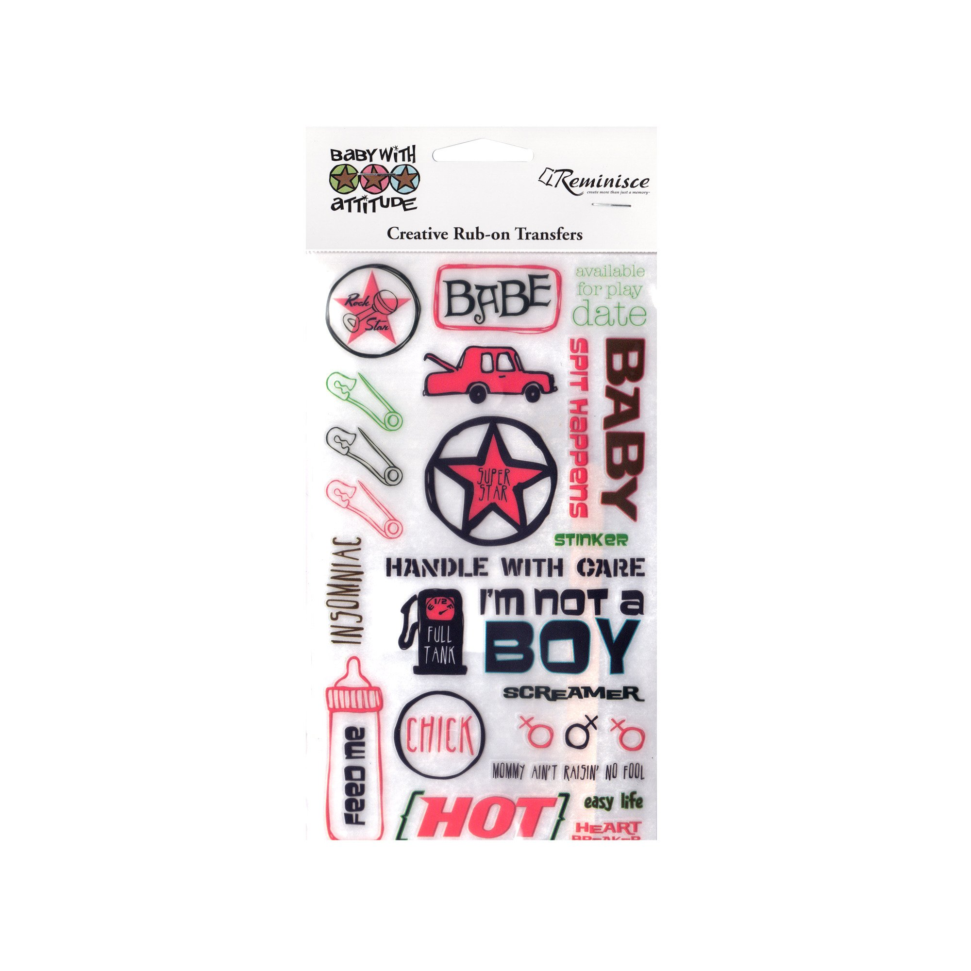 123-Wholesale - Set of 48 Baby with Attitude Rub-on Transfers - Scrapbooking Rub-ons by 123-Wholesale