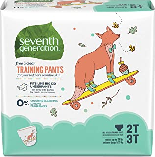 product image for Seventh Generation Free & Clear Potty Training Pants Size 2T/3T (M), up to 35 lbs 25 count, Pack of 4
