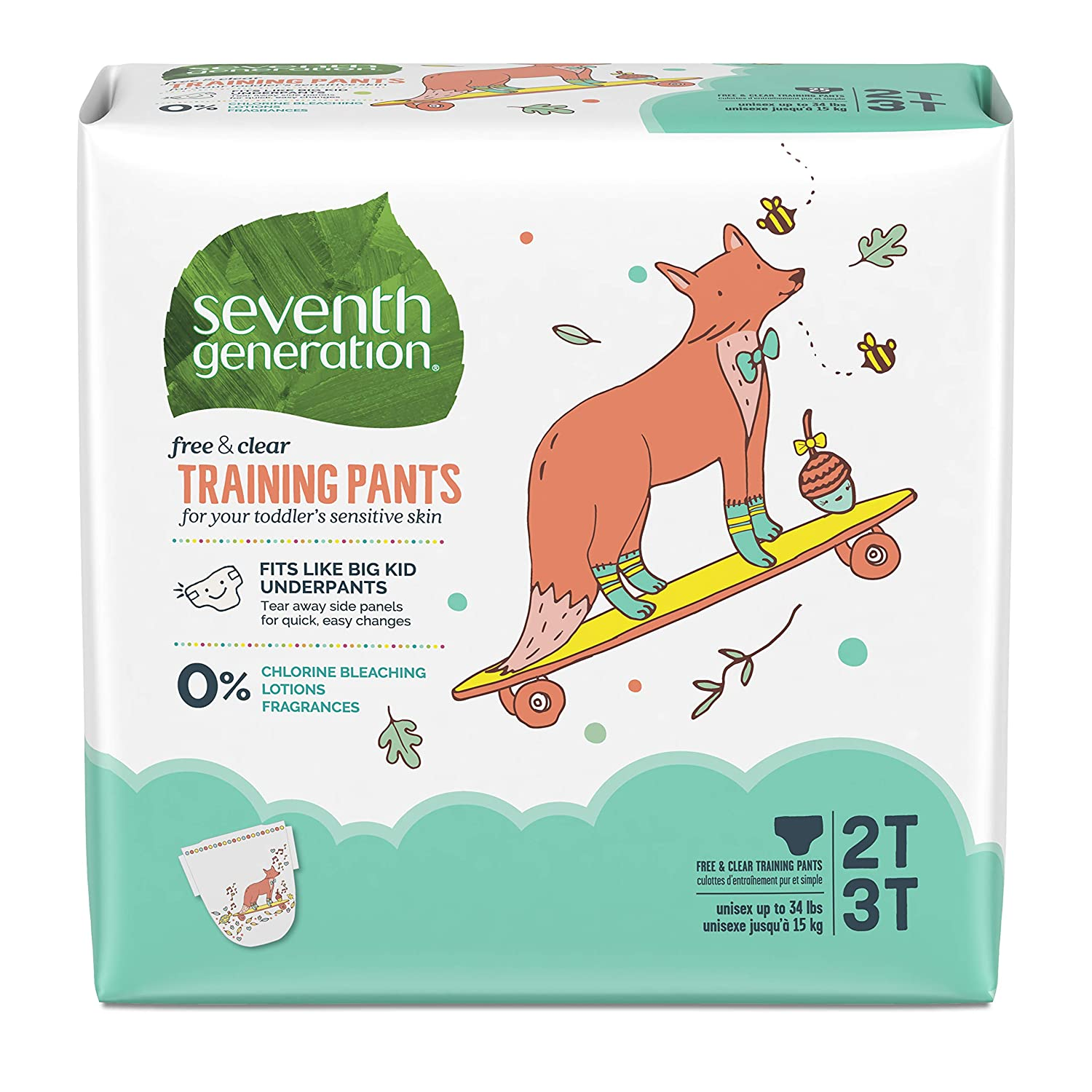 100 count Medium Size 2T-3T Packaging May Vary Seventh Generation Baby /& Toddler Training Pants