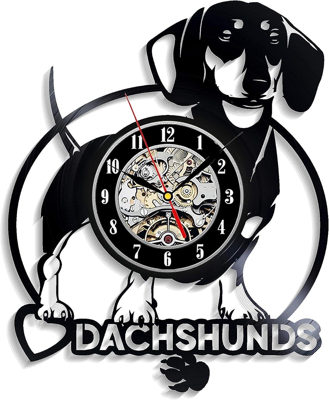 Daschund Vinyl Wall Clock Decoration for Kids Room Express Shipping for Boy Dash-Hound Sausage Dog Wiener Dog Levescale Teckel Girl Man Or Woman Dackel