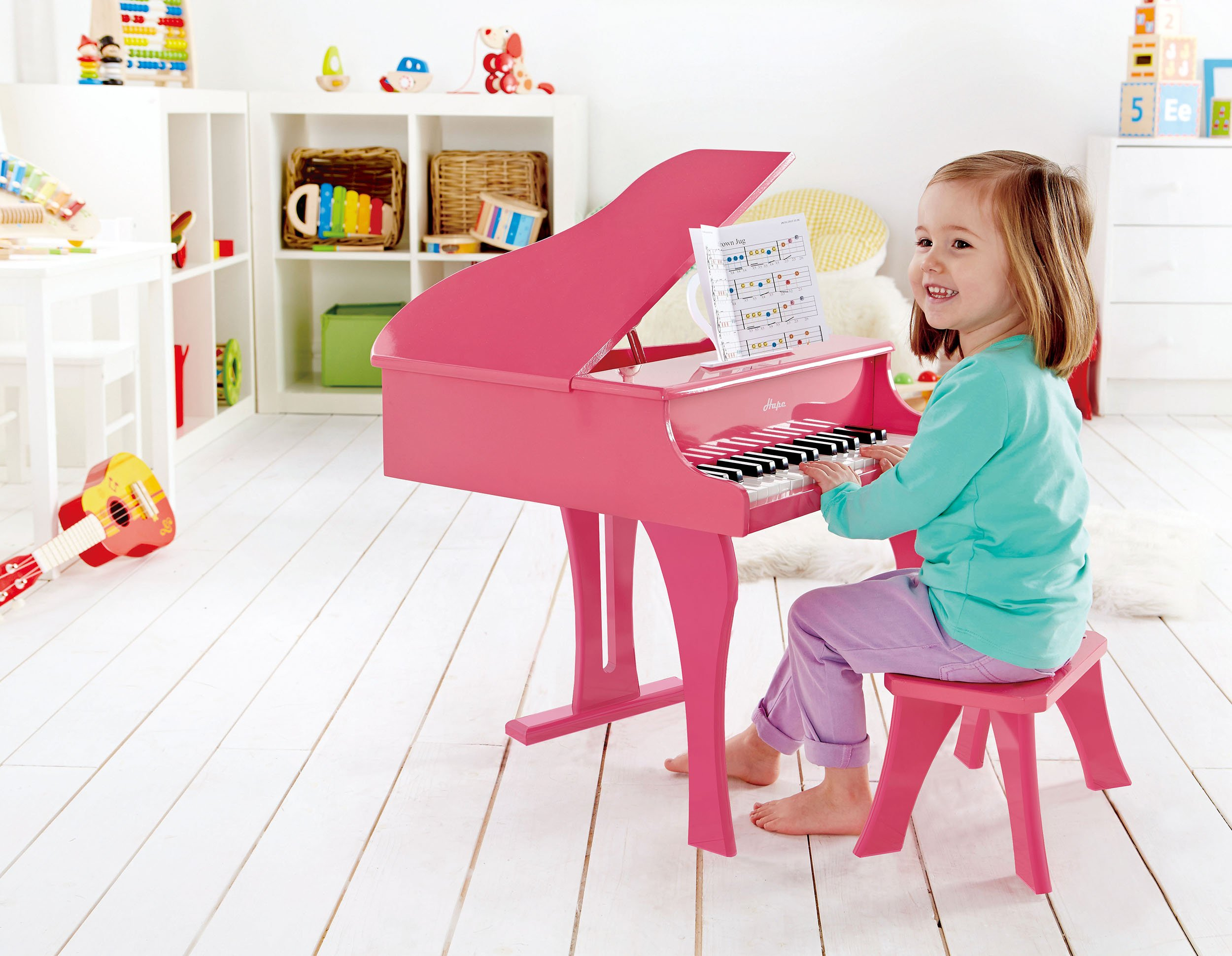 Hape Happy Grand Piano in Pink Toddler Wooden Musical Instrument by Hape (Image #3)