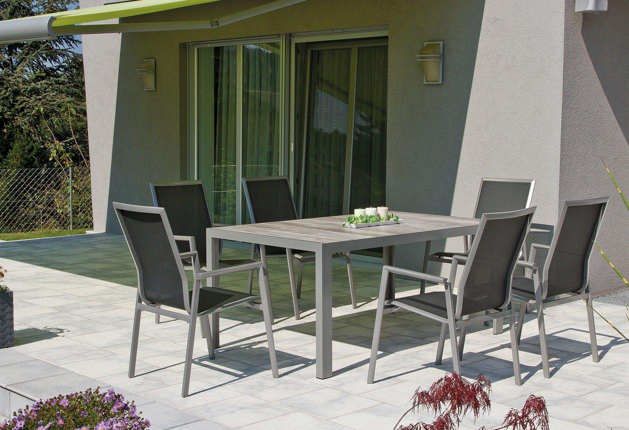 Sitzgruppe Alamillo silber mit 6 ALU Gartenstühlen und Keramiktisch